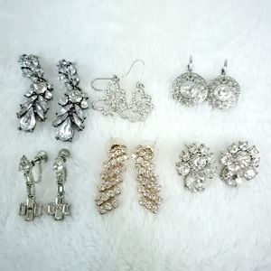 Vintage Now Lot 6 Rhinestone Earring Pairs